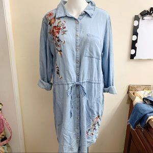 A.n.a chambray floral embroidered tie waist dress
